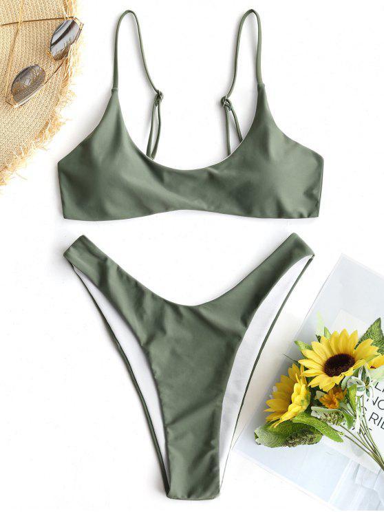 Gepolsterte Bikini Top Und Hohe Schlitz Badehose - Armeegrün S