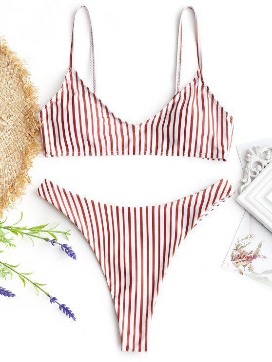 Conjunto de bikini de tanga de corte alto a rayas - Rojo+Blanco L
