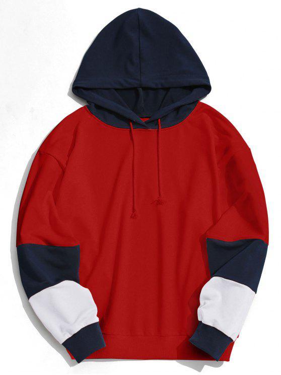 ملابس رجالي بغطاء للرأس على شكل مربعات ملونة - أحمر S