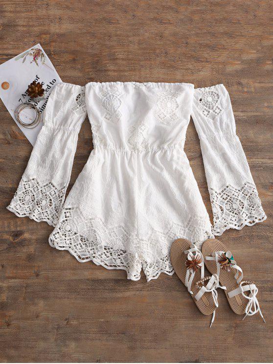 women Crochet Panel Off Shoulder Romper - WHITE S