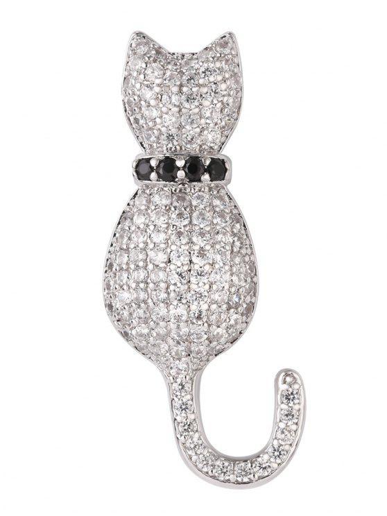 Strass Blinkte Kätzchen Brosche - Silber