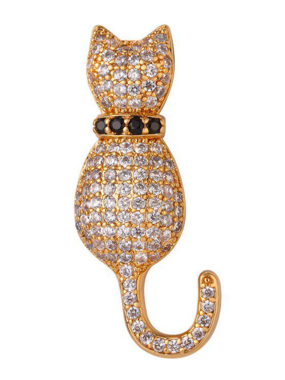 Spilla A Gattino Carino Con Diamanti Artificiali Scintillanti - Oro