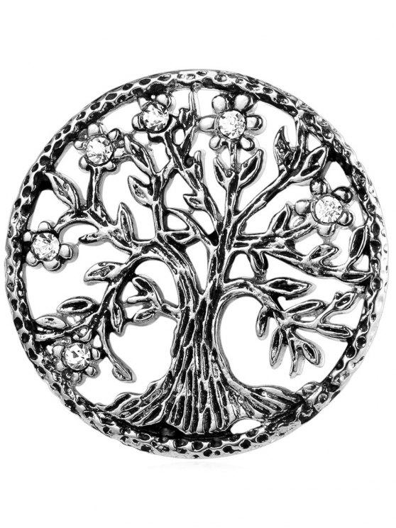 Broche de árbol de la vida de diamantes de imitación de acero inoxidable - Plata