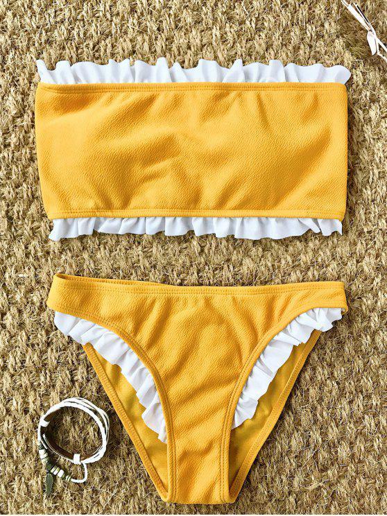 new Frilled Textured Lace-up Bikini Set - YELLOW M