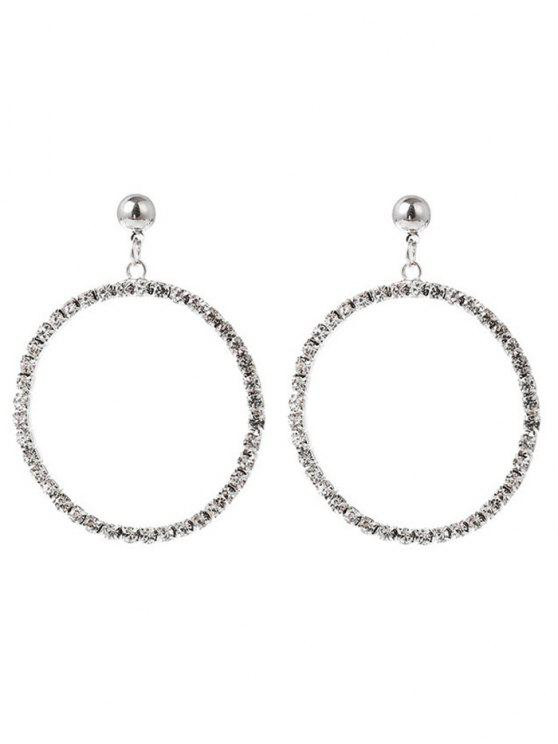 new Metal Hoop Srudded Rhinestone Dangle Earrings - SILVER