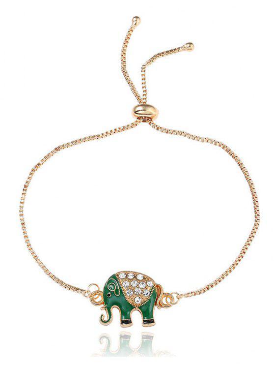 Rhinestone Elephant Box Chain Bolo Bracelet - Dourado
