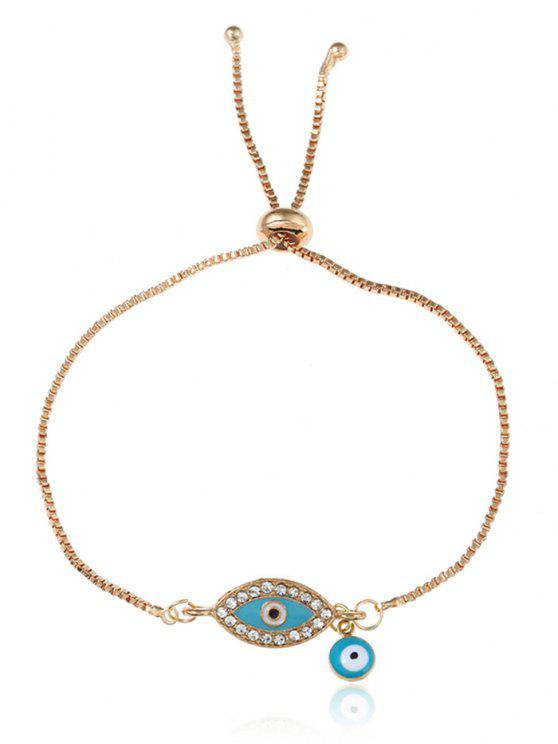 buy Rhinestone Eye Bolo Charm Bracelet - GOLDEN