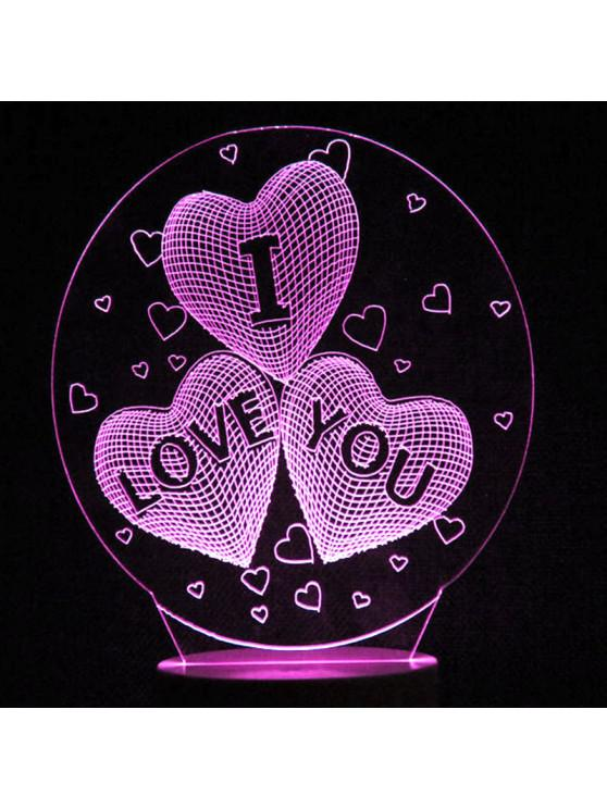Mother's Day Love Heart Colors Changing LED Night Light - โปร่งใส