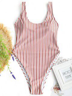 Low Back High Cut Striped Swimwear - Red With White L