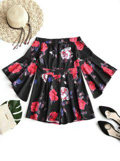 Off Shoulder Floral Flare Sleeve Romper - Black S
