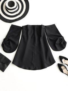 Off Shoulder Puff Sleeve Mini Dress - Black M