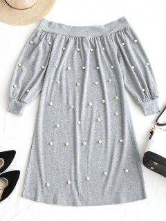 Off Shoulder Beading Mini Dress - Light Gray M