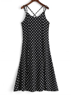 High Slit Cross Back Polka Dot Cami Dress - Black M
