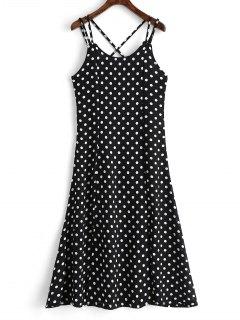 High Slit Cross Back Polka Dot Cami Dress - Black M