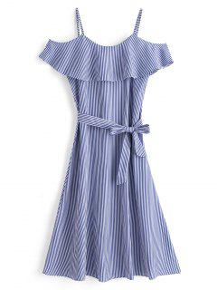 Falbala Cold Shoulder Striped Maxi Dress - Blue And White L
