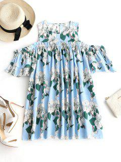 Cold Shoulder Ruffles Floral Mini Dress - Floral S