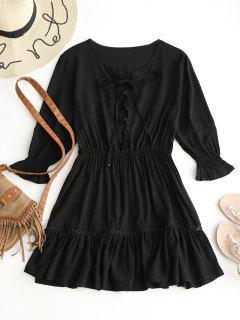 Lace Up Crochet Panel A Line Dress - Black L