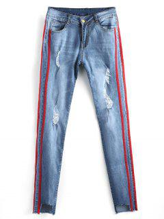 Cut Out Frayed Ripped Jeans - Denim Blue 2xl