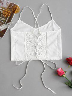 Crochet Panel Back Lace Up Cami Top - White L