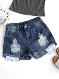 Frayed Hem Denim Ripped Shorts - Deep Blue L
