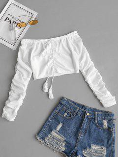 Schulterfreie Geraffte Crop Maschen Bluse - Weiß M