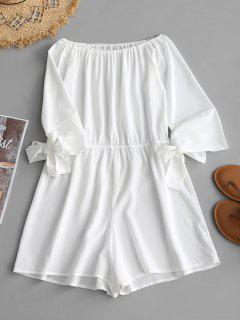 Off Shoulder Tied Bowknot Romper - White L