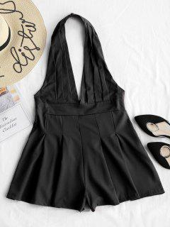 Backless High Waist Halter Romper - Black L