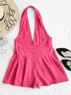 Backless High Waist Halter Romper - Rose Red Xl