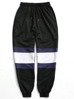 Color Block Jogger Pants - Black L