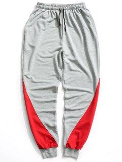 Two Tone Jogger Pants - Gray L