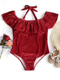 Ruffle Velvet Plus Size Swimsuit - Red 4xl