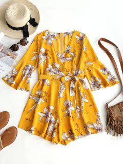 Flare Sleeve Floral Belted Romper - Yellow L