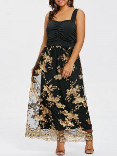 Vestido Largo De Cóctel Con Lentejuelas Abiertas Y Espalda Abierta - Negro 5xl