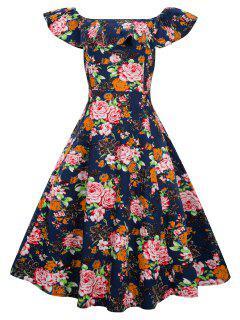 Overlay Taille Plus La Robe Swing Vintage épaule - Bleu Violet 2xl