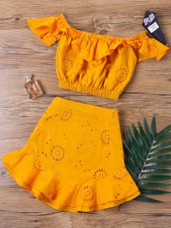Off The Shoulder Ruffle Skirt Two Piece Set - Orange S