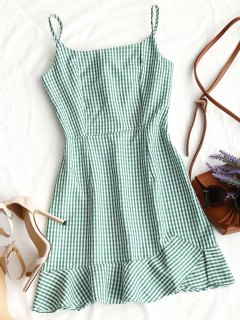 Back Zip Checked Ruffles Mini Dress - Green L
