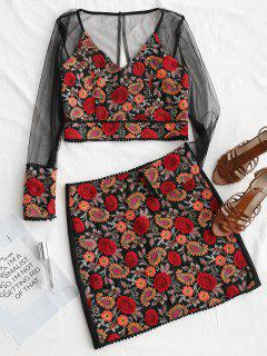Gauzy Floral Embroidered Top And Mini Skirt Set - Floral L