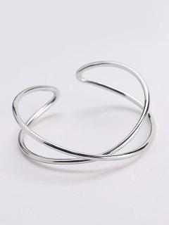 Metal Irrgular Design Cuff Bracelet - Silver