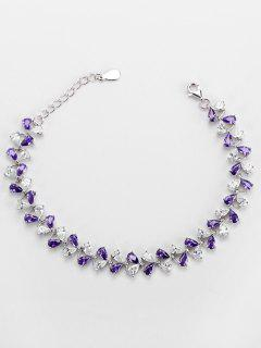 Valentine's Day Faux Amethyst Charm Bracelet - Purple