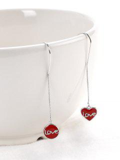 Valentine's Day Love Word Drop Earrings - Red