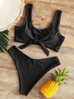 High Rise Bowtie High Leg Bikini - Black Xl