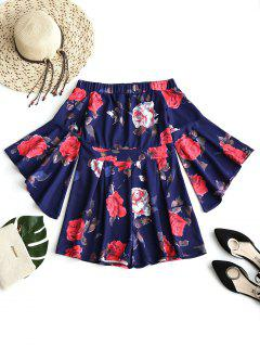 Off Shoulder Floral Flare Sleeve Romper - Purplish Blue S