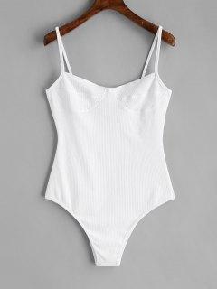 Skinny Knitted Bralette Bodysuit - White M