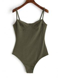 Skinny Knitted Bralette Bodysuit - Army Green Xl