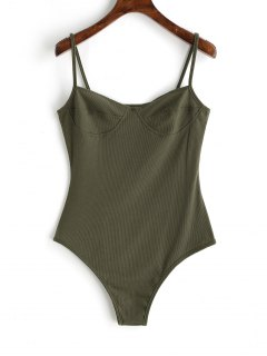 Skinny Knitted Bralette Bodysuit - Army Green M