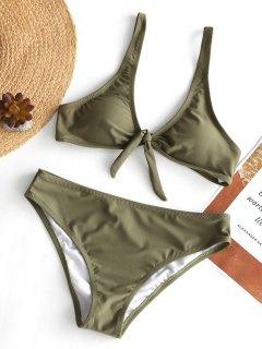 Gepolsterter Knoten Bikini-Set - Olivgrün S