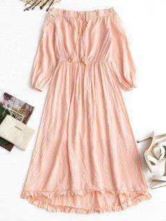 Robe Volantée à Panneau Crochet à épaules Dénudées - Rose Clair S