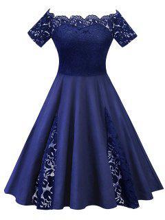 Plus Size Lace Panel De La Robe De L'épaule - Bleu Violet 5xl