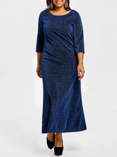 Robe Maxi à Encolure Dégagée Lurex Et Grande Taille - Bleu Cadette 2xl
