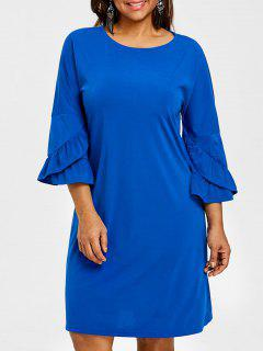 Vestido Con Hombros Descubiertos Y Manga Larga De Campana - Azul 4xl